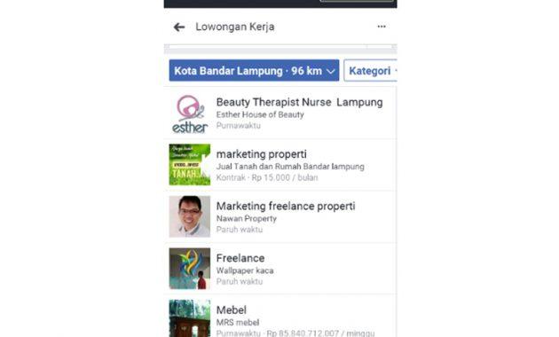 mencari lowongan kerja di facebook