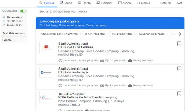 mencari lowongan kerja di google